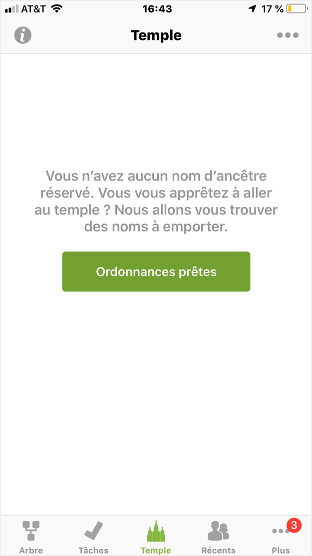 Copie d'écran de la fonction «Ordonnances prêtes» dans l'application de FamilySearch.