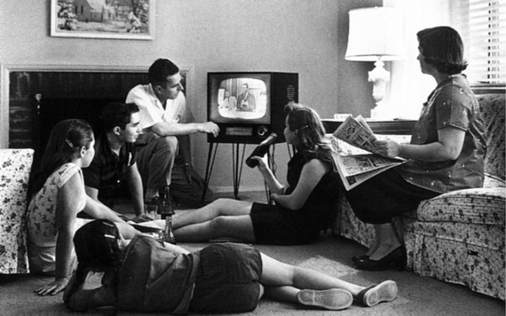 A family watches television