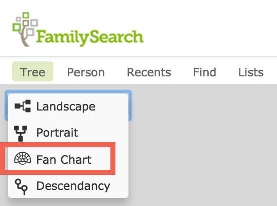 FamilySearch fan chart menu