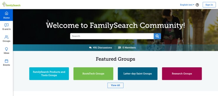 new community on familysearch