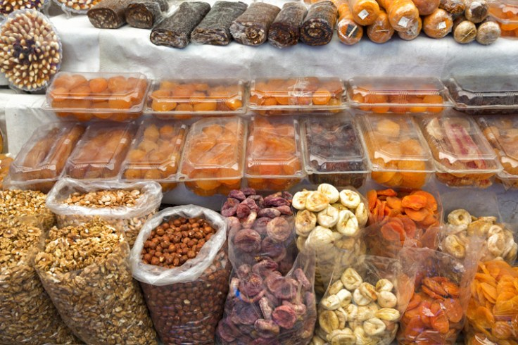 An armenian market with dried fruits and nuts.