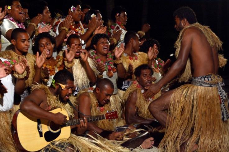 meke dancers. Meke is a traditional dance in Fiji