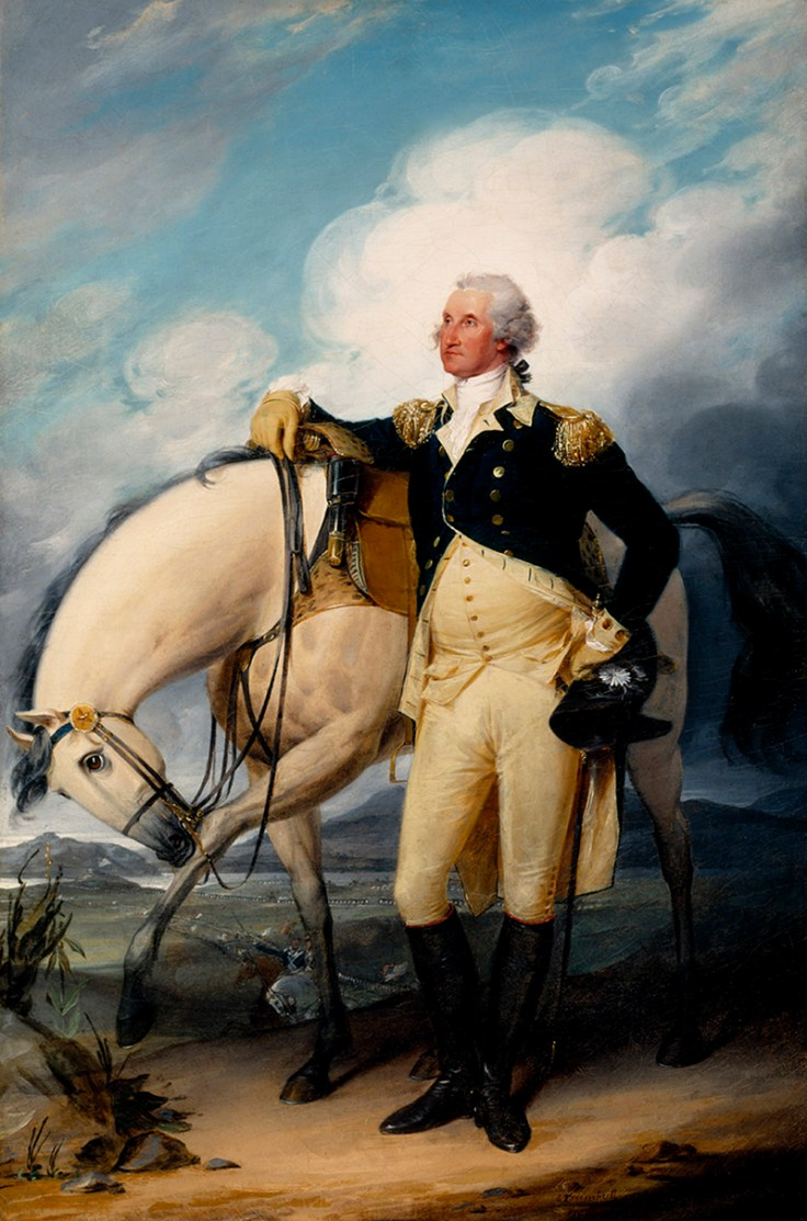 A painting of George Washington.