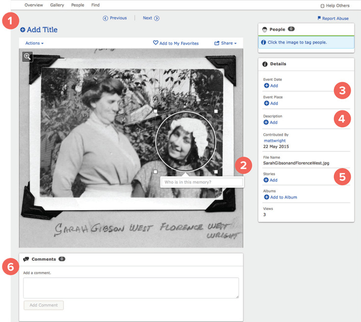 How to add details on FamilySearch Memories.