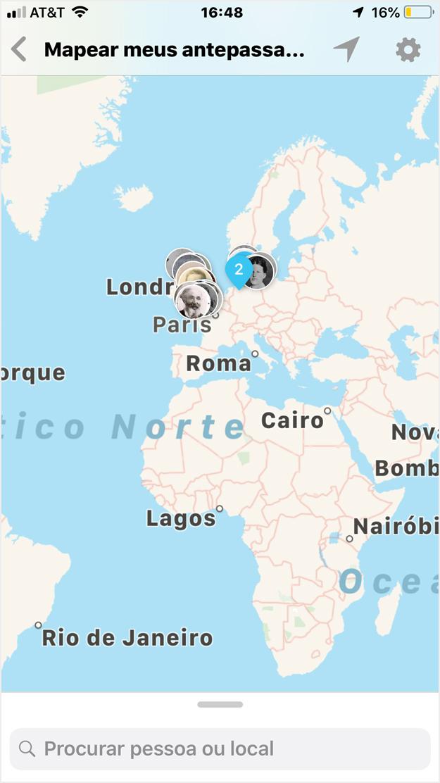 antepassados no mapa-múndi para um dispositivo iOS