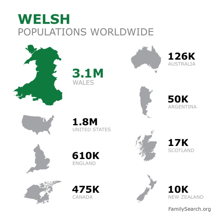 a graphic showing welsh populations worldwide.
