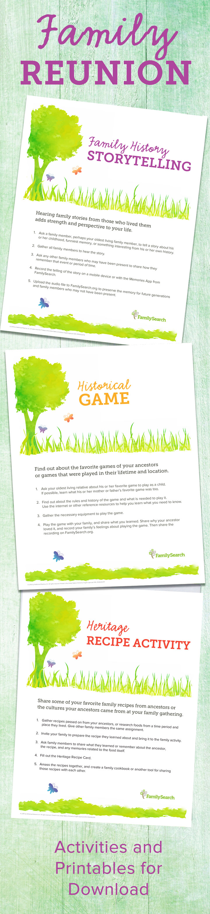 Family gathering activity printables infographic