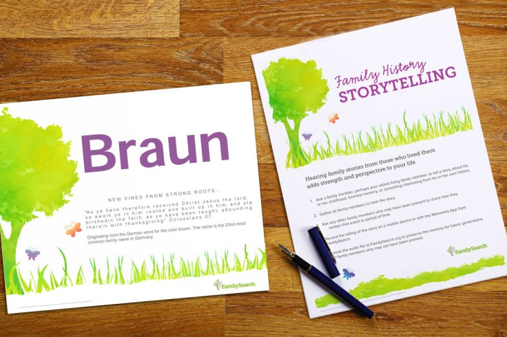Family Gatherings: free family history storytelling and name printable