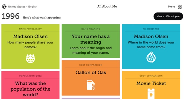 All About Me screenshot featuring information about your name and birthday