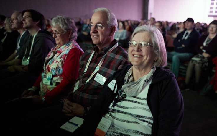 Audience viewing tech demos at RootsTech 2020.