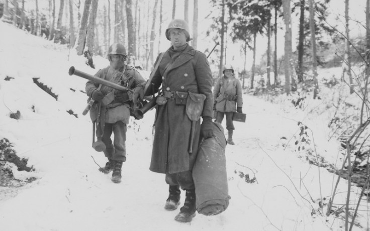 Soldiers in the Forest of Ardennes during the Battle of the Bulge
