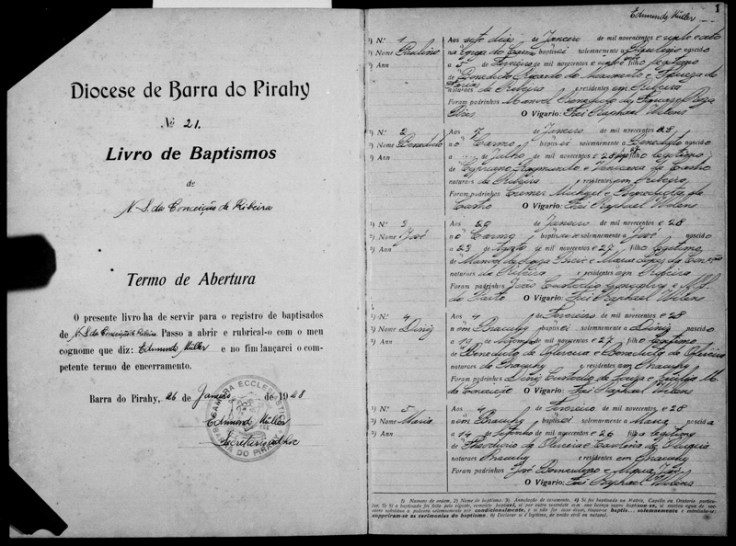 Photo of a baptism record from Brazil.