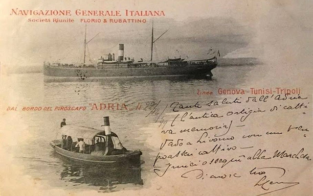Postcard of ships carrying Italian immigrants to Brazil.