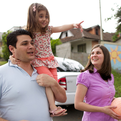 Brazilian family walking in their homeland.