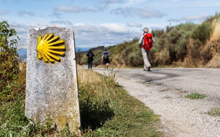 A sign for the Camino de Santiago pilgrimage