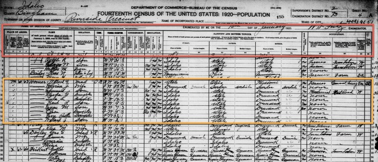 1920 census record screenshot