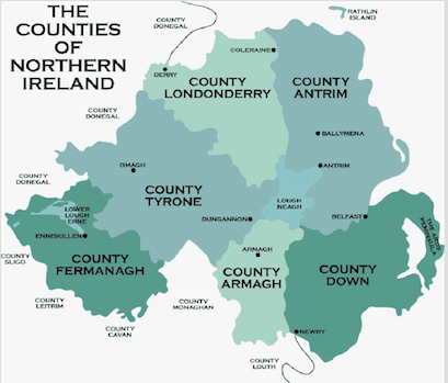 a graphic of the counties of northern ireland