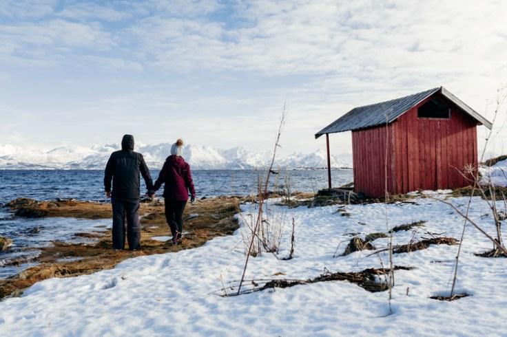 a norwegian farm in the winter.