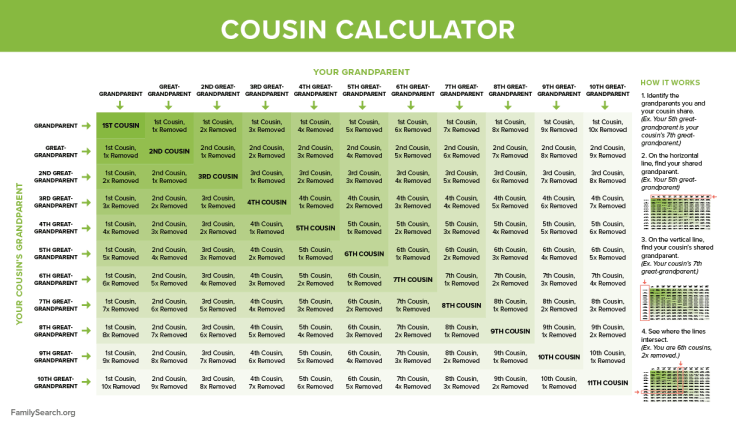 Cousin calculator, relationship chart