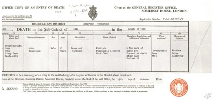 an england death certificate.