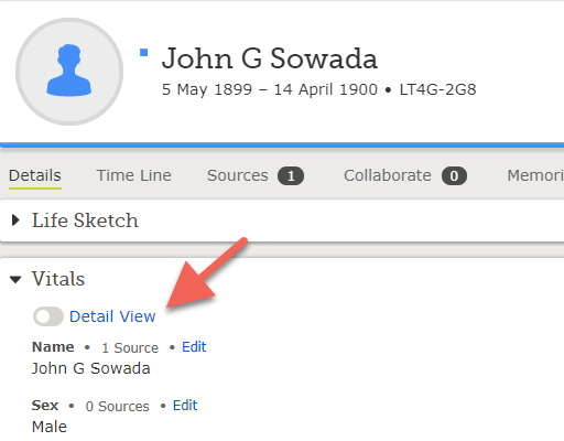Screenshot showing how to toggle detail view on desktop in FamilySearch Family Tree.