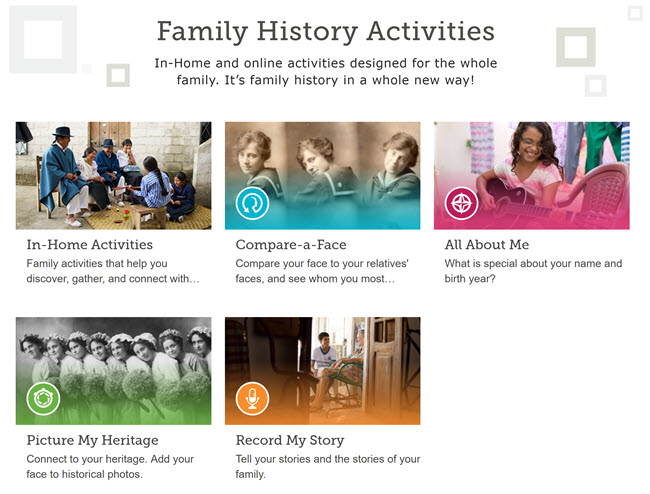 Family activities on FamilySearch.org.