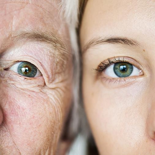 Concepto genético de la generación familiar de ojos verdes.