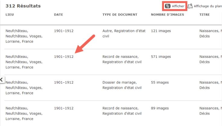 Copie d'écran de la page des résultats avec les icônes utiles signalant où se trouvent les renseignements.