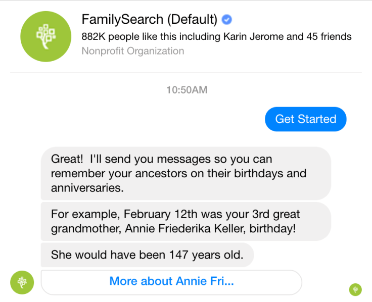Receive messages from FamilySearch on Facebook about important dates from your family history.