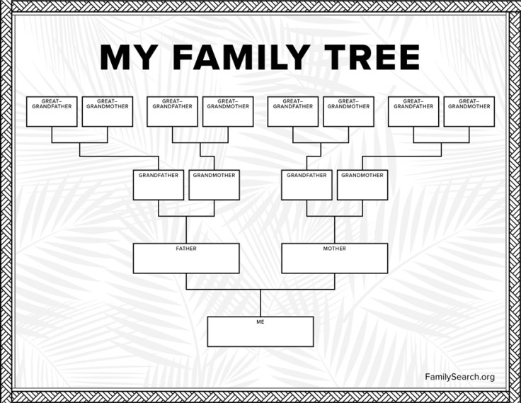 simple family tree template with fillable four generations