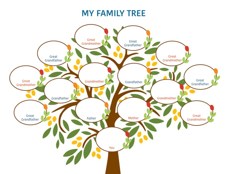 colorful family tree chart, four generations