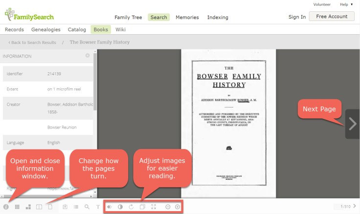 FamilySearch digital library book interface.