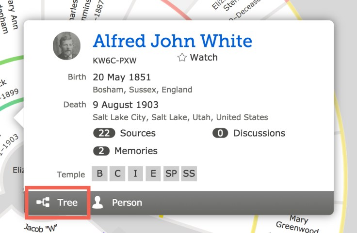 FamilySearch tree person menu