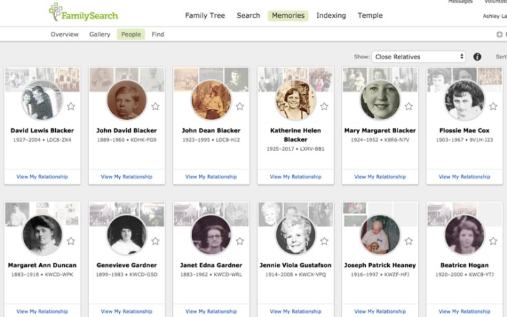 FamilySearch Memories screenshot