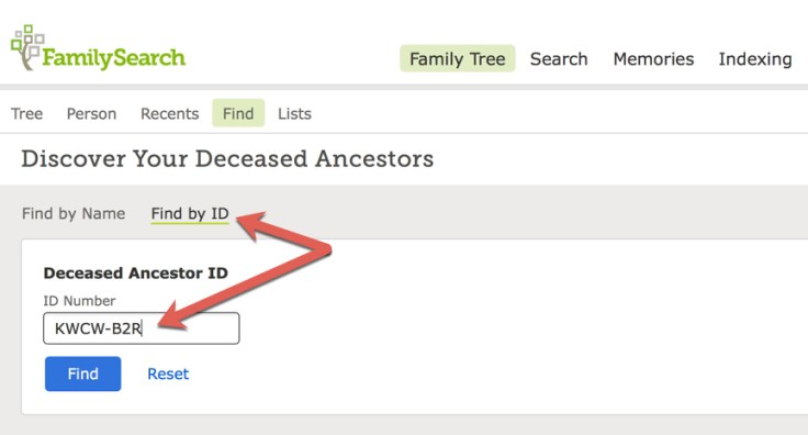 A screenshot of the find by ID feature on Family Tree.