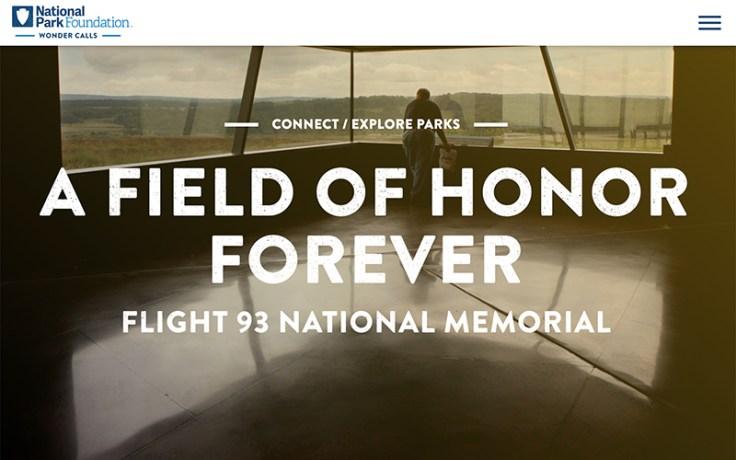 A screen capture of the flight 93 memorial website.