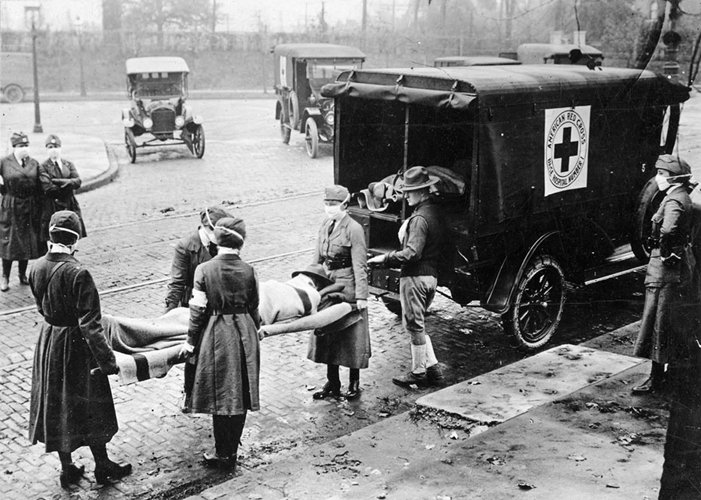 an ambulance carriage carries a man with the Spanish Flu of 1918.