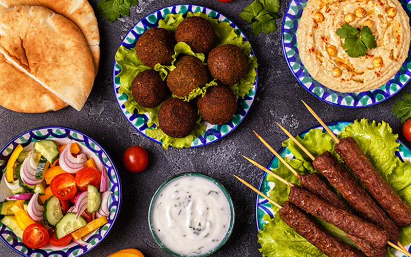 a smattering of middle-eastern foods.