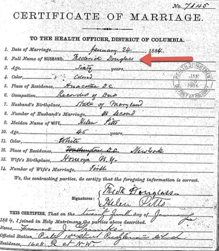 Frederick Douglass's marriage certificate.