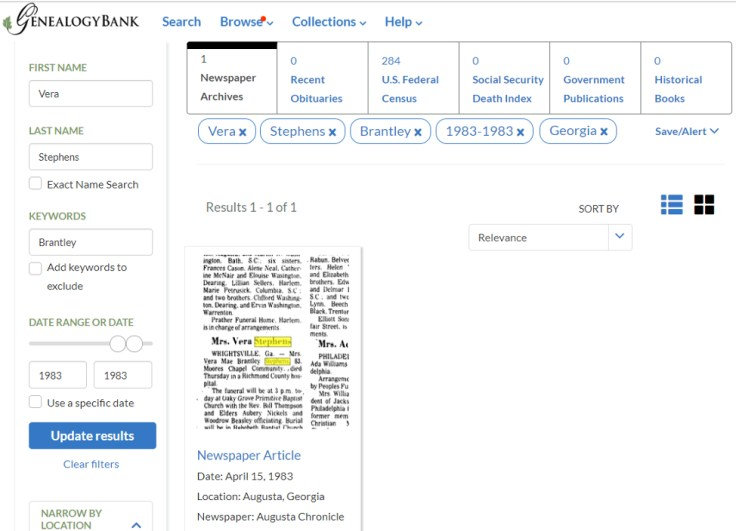 the results page on an obituary search