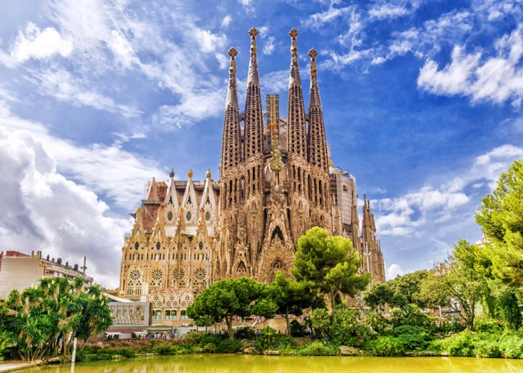 Sagrada Familia in Barcelona. Heritage tourism includes visiting  cultural and historical landmarks.