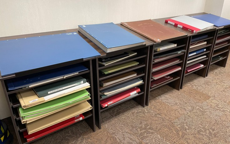 Floor and cabinet updates at the Family History Library in Salt Lake.