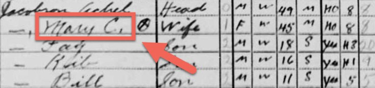 Screenshot of the name Mary C. in a 1940 U.S. census record.