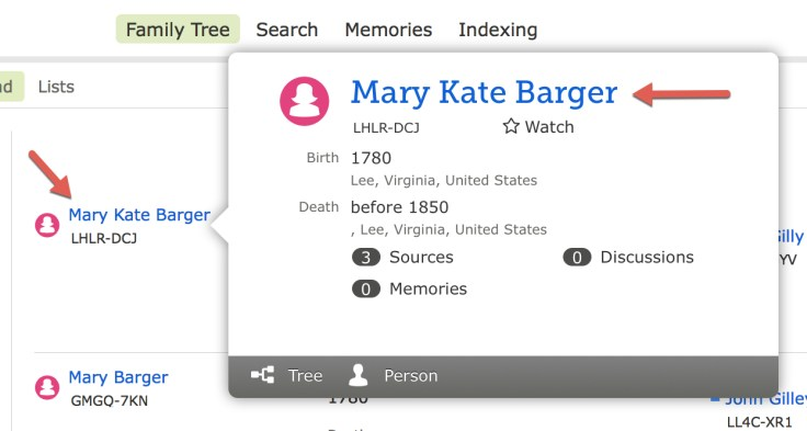 Screenshot of popup for ancestor summary on FamilySearch.org