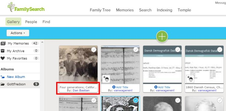 FamilySearch memories