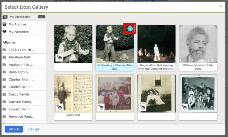 FamilySearch memories gallery