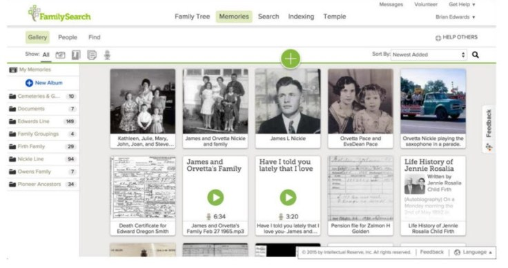 The memories gallery makes it easy to add, organize, and view pictures and other artifacts from your family tree.