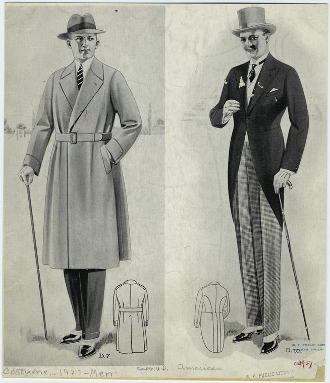 Drawing of popular men's 1920s clothing