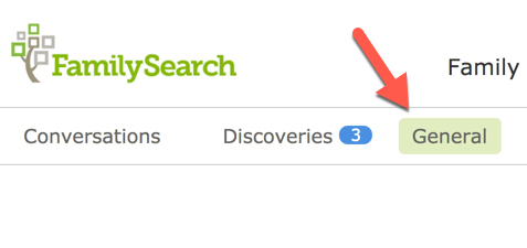 Screenshot of General tab in FamilySearch Messages.