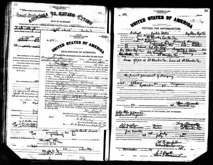 Naturalization record on FamilySearch
